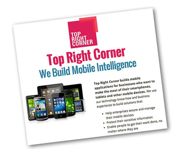 Screen shot: Top Right Corner website