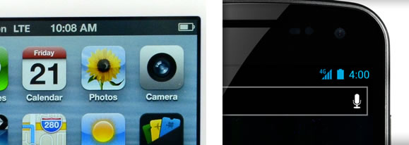 The top right corners of iOS and Android screens
