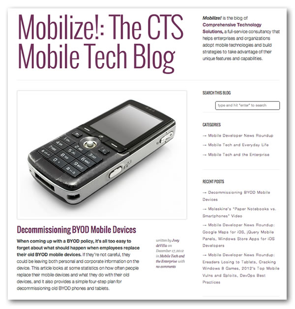 "Screenshot of the ""Mobilize!"" blog"