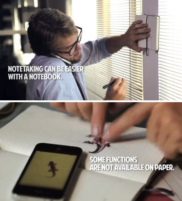 "Stills from Moleskine's ""Paper Notebooks vs. Smartphones"" video: ""Notetaking can be easier with a notebook"" vs. ""Some functions are not available on paper"""