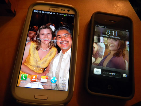 Photo: Joey's Samsung Galxy S III and iPhone 4S, side by side