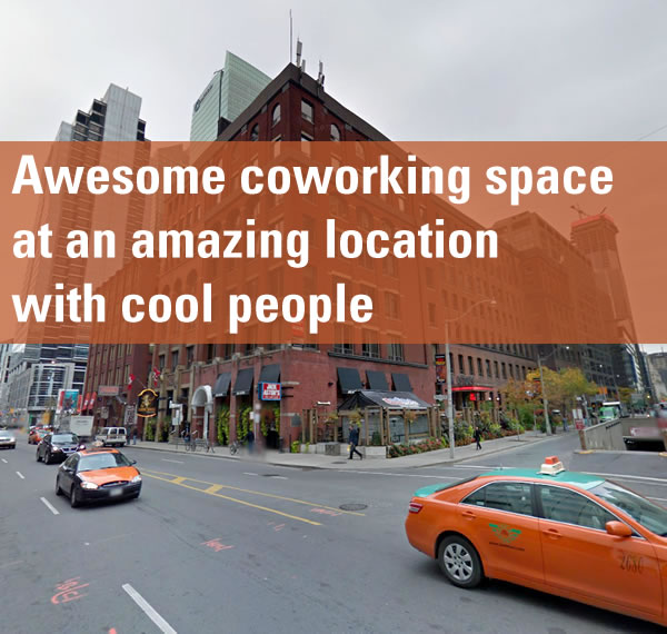 "Photo of corner of Front Street and University Avenue in Toronto: ""Awesome coworking space at an amazing location with cool people"""