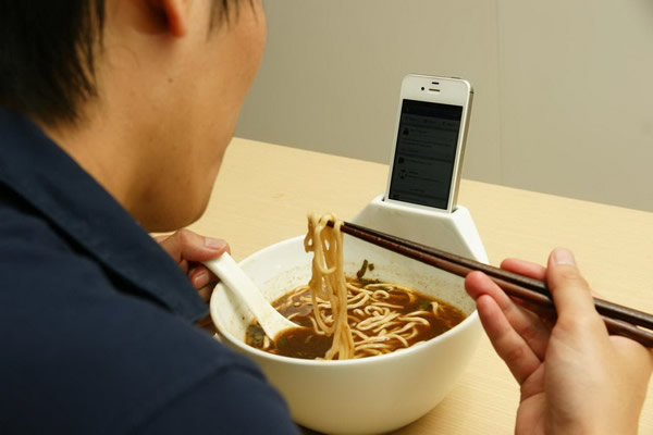 bowl phone cradle