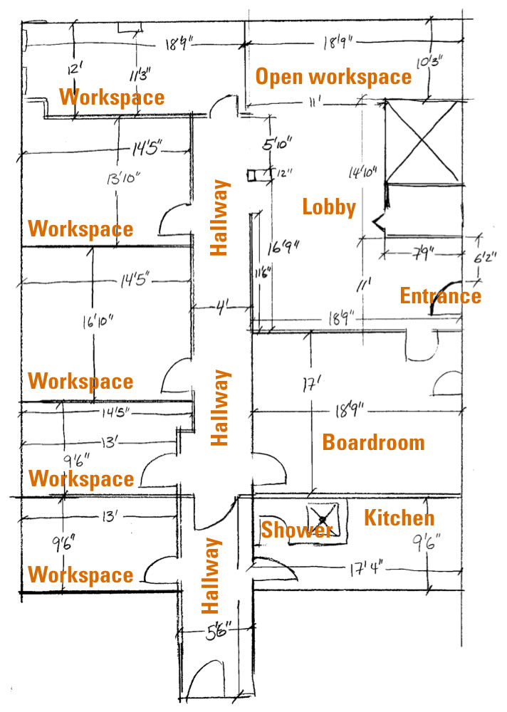 Floor plan of shared office space