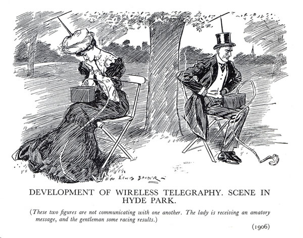 "Old Punch comic from 1906, depicting a man and a woman sitting on chairs in a park and facing away from each other. Each has a box on his/her lap that is spitting out a stream of telegraph paper tape, which they read intently: ""DEVELOPMENT OF WIRELESS TELEGRAPHY IN HYDE PARK: These two figures are not communicating with one another. The lady is receiving an amatory message, and the gentleman some racing results."""