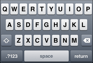 "iOS ""ASCII capable"" keyboard, default letter view"
