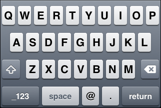 "iOS ""E-mail address"" keyboard, default letter view"