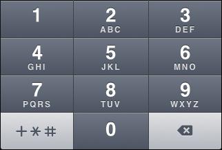 """iOS """"Phone pad"""" keyboard, default number view"""