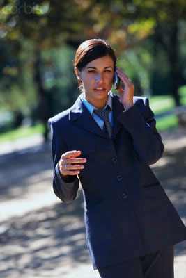 suit and phone