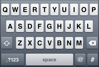 "iOS ""Twitter"" keyboard, default letter view"