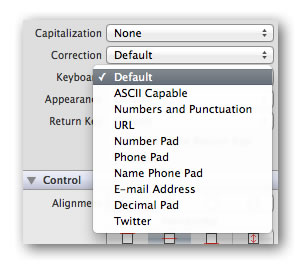 Drop-down menu of keyboard types in Xcode