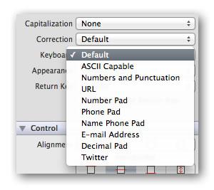 Drop-down menu of keyboard types in Xcode