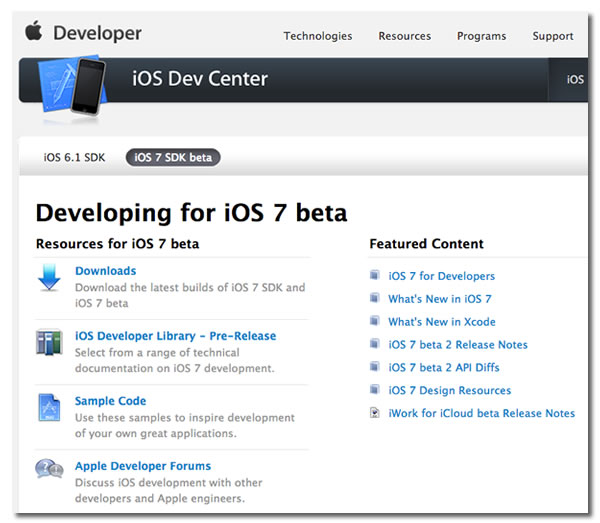 developing for ios 7 beta