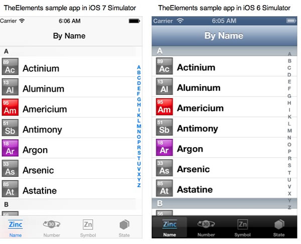 elements sample app in ios 6 and 7