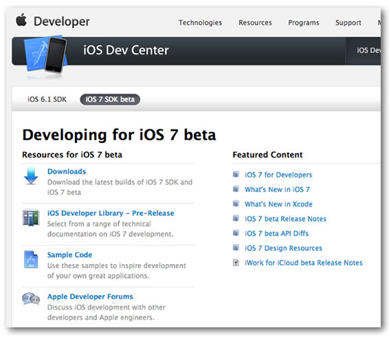 ios dev center - ios 7 beta