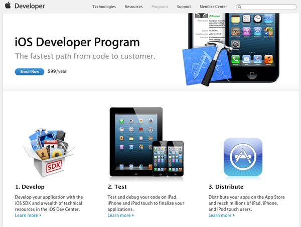 ios developer program enrollment page
