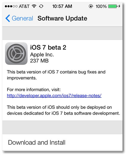ios7 beta 2 update