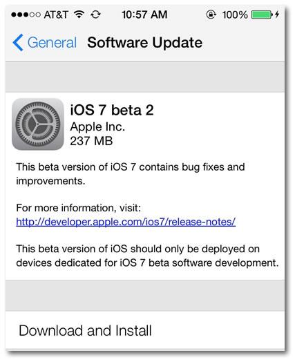ios7 beta 2 update