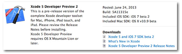 xcode 5 developer preview 2