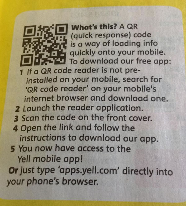 yellow pages qr code