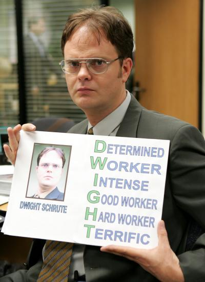 Dwight K. Schrute from the American edition of 'The Office' holding his D.W.I.G.H.T. sign: