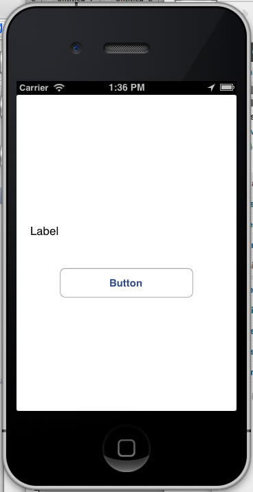app with label and button