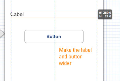 make label and button wider