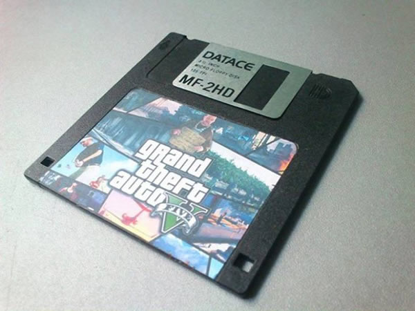 Grand Theft Auto V on a 3.5-inch diskette