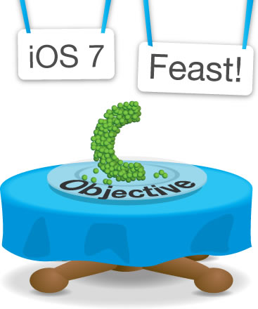 'iOS 7 Feast' table, featuring Objective-C