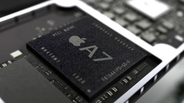 Apple's A7 chip, sitting on an iPhone 5S circuit board