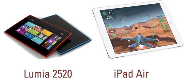 lumia 2520 and ipad air