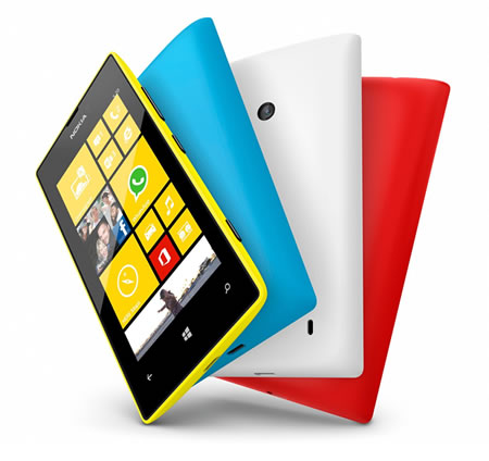 nNokia Lumia phones, spread out like a fan