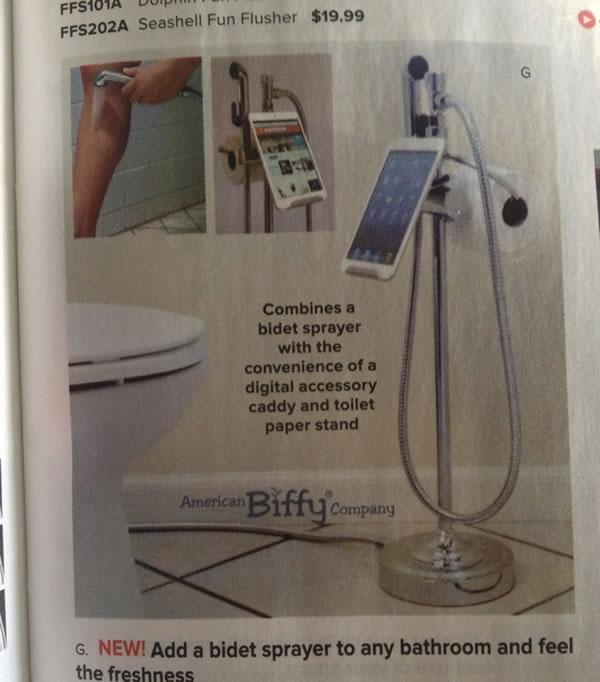 bidet sprayer tablet stand