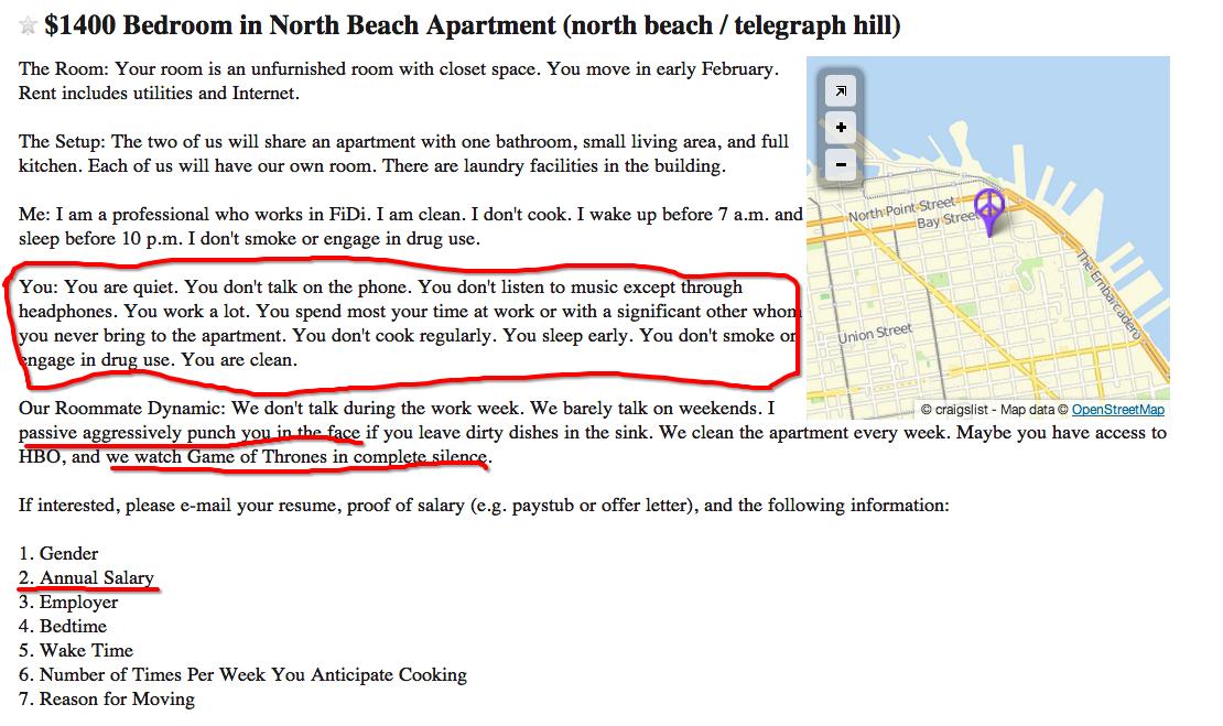 north beach apartment ad