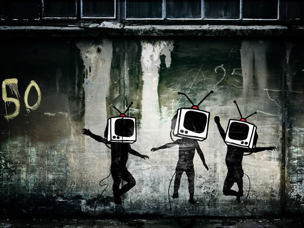 tv heads dancing