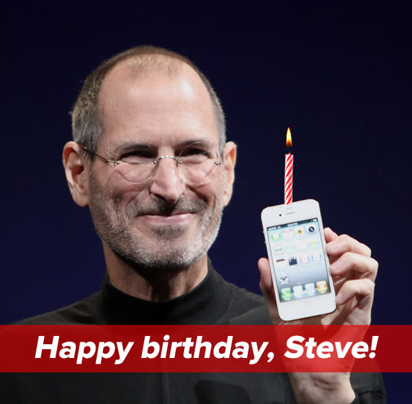 Happy birthday, Steve!: Steve Jobs holding up an iPhone with a candle on top.