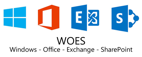 Icons for Windows, Office, Exchange, and SharePoint, captioned with 'WOES: Windows - Office - Exchange - SharePoint'