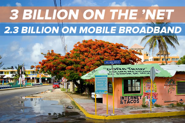 3 billion on the net most on mobile broadband