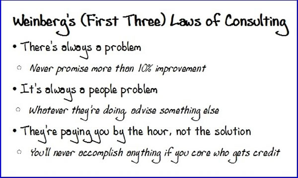 weinberg's laws of consulting