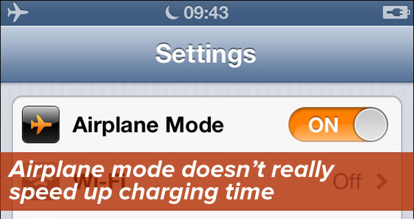 """Airplane mode doesn't really speed up charging time"": Screen shot of iPhone's settings page with Airplane Mode on."