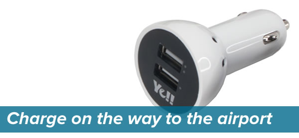 """""""Charge on the way to the airport"""": Photo of USB cigarette lighter power adapter"""