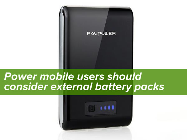 """Power mobile users should consider external battery packs"": Photo of RAVPower external battery pack"