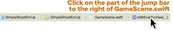 click on the jump bar