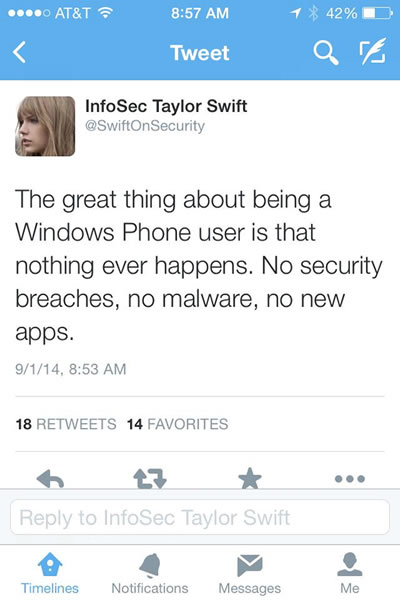 Infosec Taylor Swift On Windows Phone Security Global Nerdy