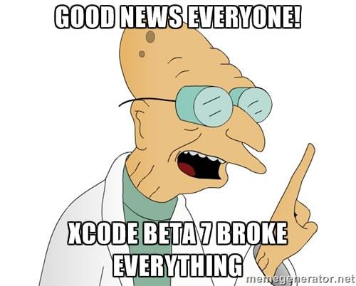 xcode beta 7 broke everything
