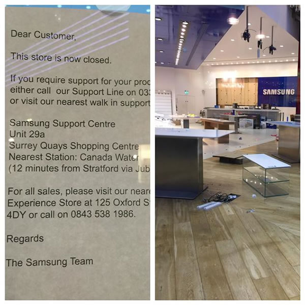 samsung london store closed