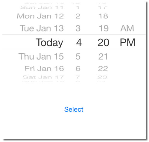 iOS app showing a date picker and a button labelled 'Select'. The selected date in the date picker is 'Today, 4:20 PM'