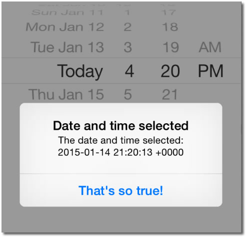 iOS app with date picker and button, overlaid with an alert showing the selected date as '2015-01-14 21:20:13 +0000'