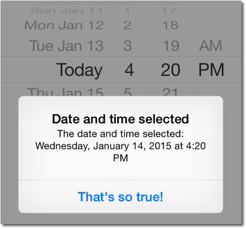 iOS app with date picker and button, overlaid with an alert showing the selected date as 'Wednesday, January 14, 2015 at 4:20 PM'