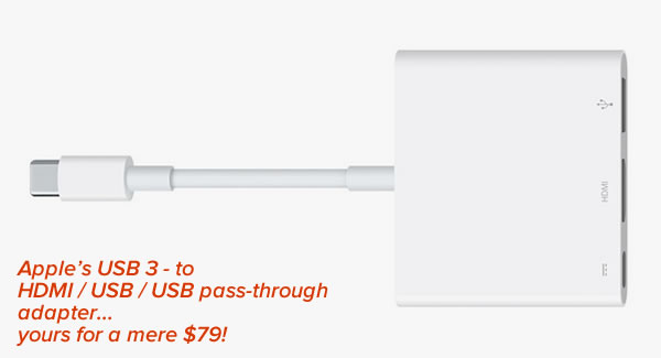 Caption: Apple's USB 3 - to HDMI / USB / USB pass-through adapter...yours for a mere $79! / Photo: Apple USB 3 dongle.